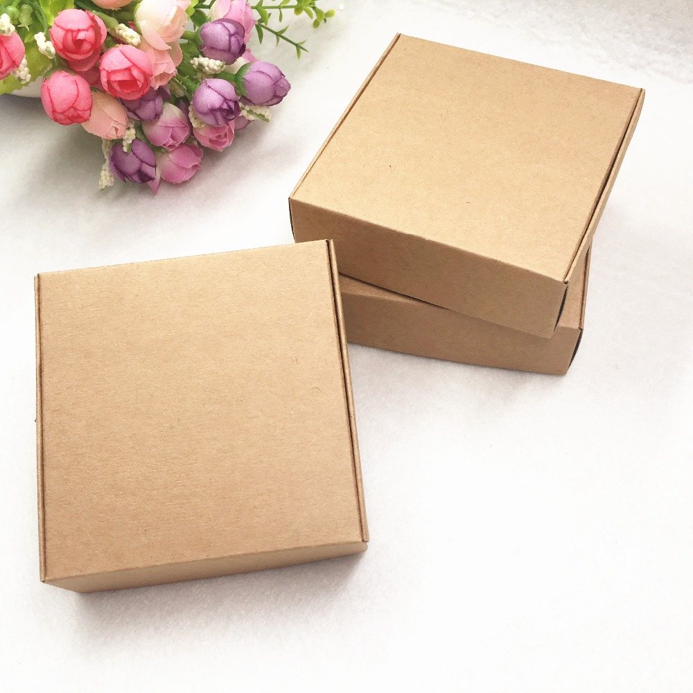 20pcs Brown Kraft Paper Aircraft Gift Boxes 6 Size Candy Box For Handmade Soap Wedding Party Gift Packaging Boxes