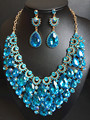 2016 New  Full Crystal Necklace and  Earrings Sets for Women Party  Wedding Jewelry Sets Gold Plated Bridal Jewelry Sets QXQ-G05