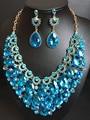 2016 Nuevo Lleno de Cristal Collar y Los Pendientes Fija para Las Mujeres Del Banquete de Boda set de Joyas de Oro Plateado Sistemas de La Joyería Nupcial QXQ-G05