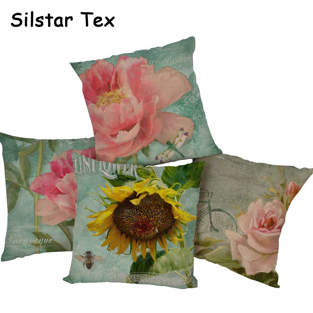 Silstar Tex Cotton Linen Square 18 inches Flowers Style Home Sofa Throw Pillowcase Sunflowers Printed Cushion Covers For Hotel