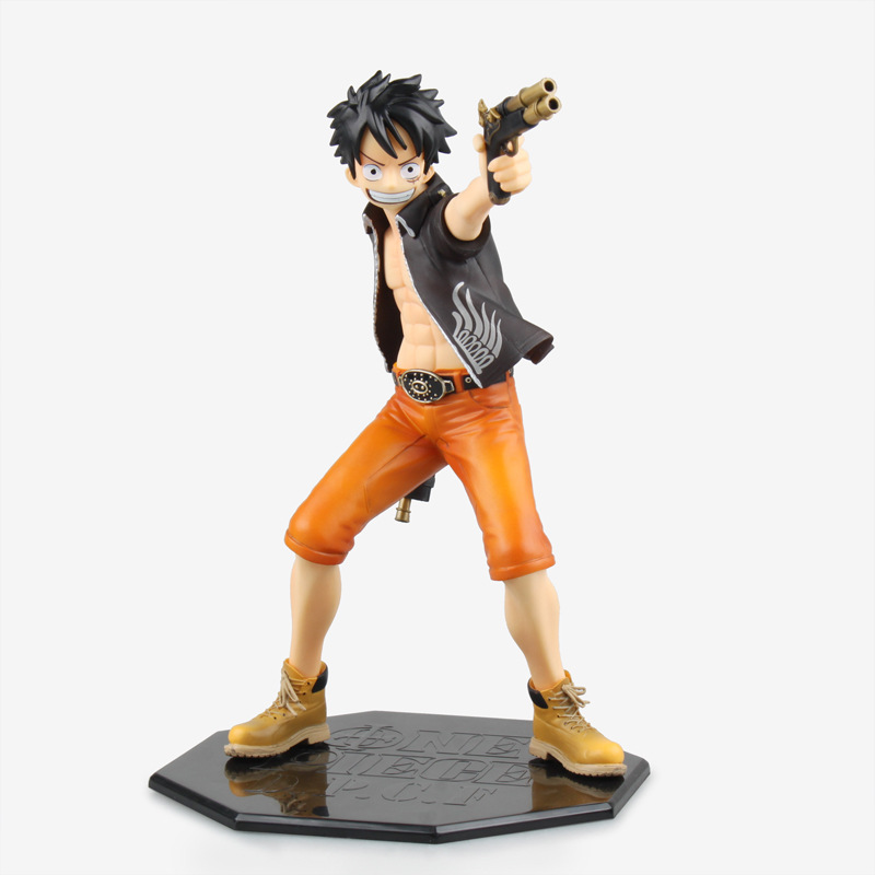 The Movie ONE PIECE Two pistols Monkey D Luffy Black style PVC Action Figure Collectible Toy 22 cm Box packing Holiday gifts 6 piece 10 14cm super mario action figure evade glue fair young car furnishing articles model holiday gifts ornament box packed