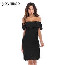 Yovamoo Off Shoulder Dress Summer Vintage 2018 Knee-Length Ruffles Slash Neck Sexy Slim Solid Color Dresses Black / Red