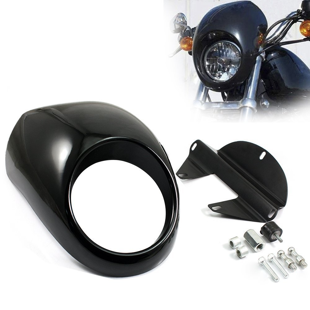 цены ABS Plastic Fairing DYNA Head light Mask Headlight Fairing Front Cowl Fork Mount For Harley Sportster Dyna Glide FX XL 883