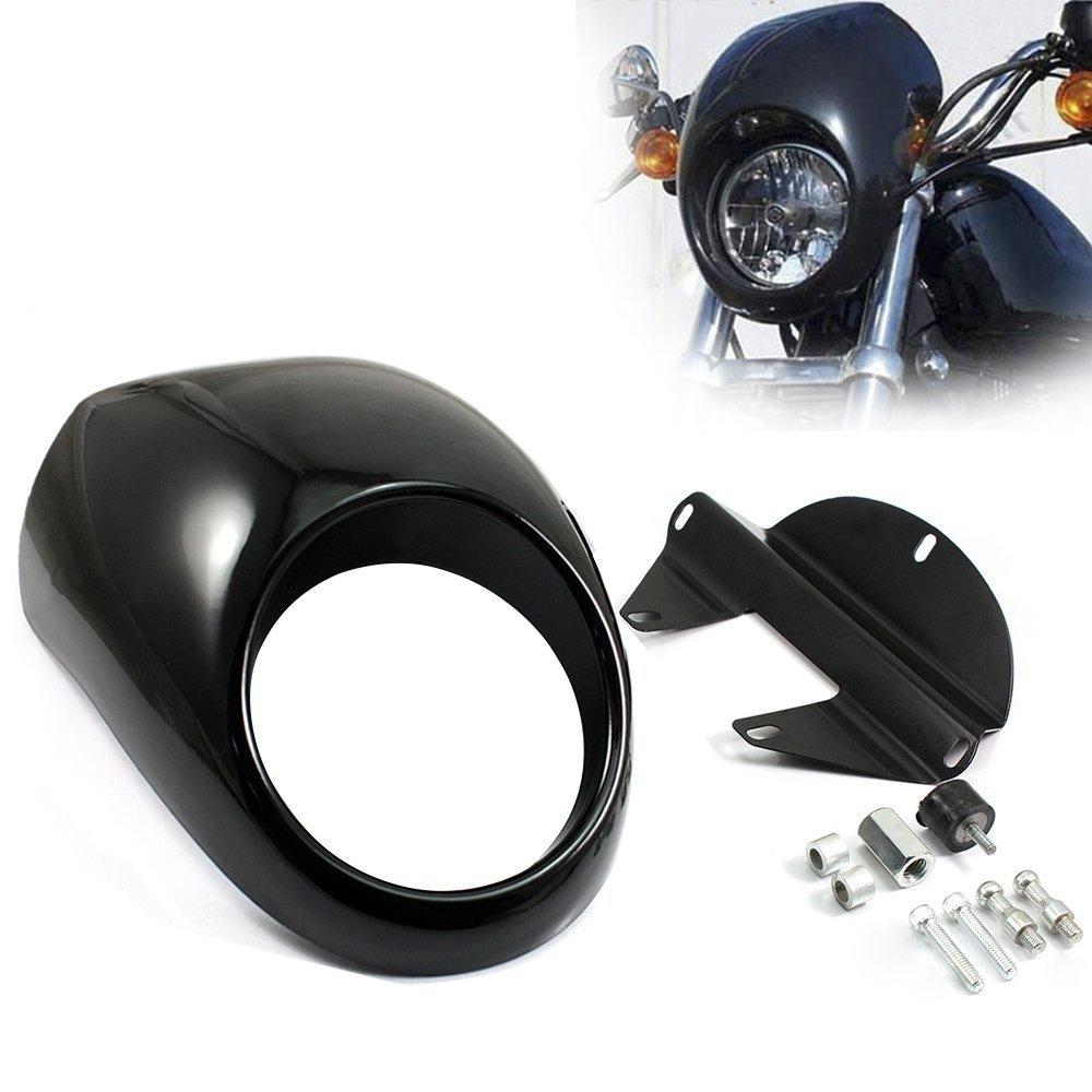 ABS Plastic Fairing DYNA Head light Mask Headlight Fairing Front Cowl Fork Mount For Harley Sportster Dyna Glide FX XL 883