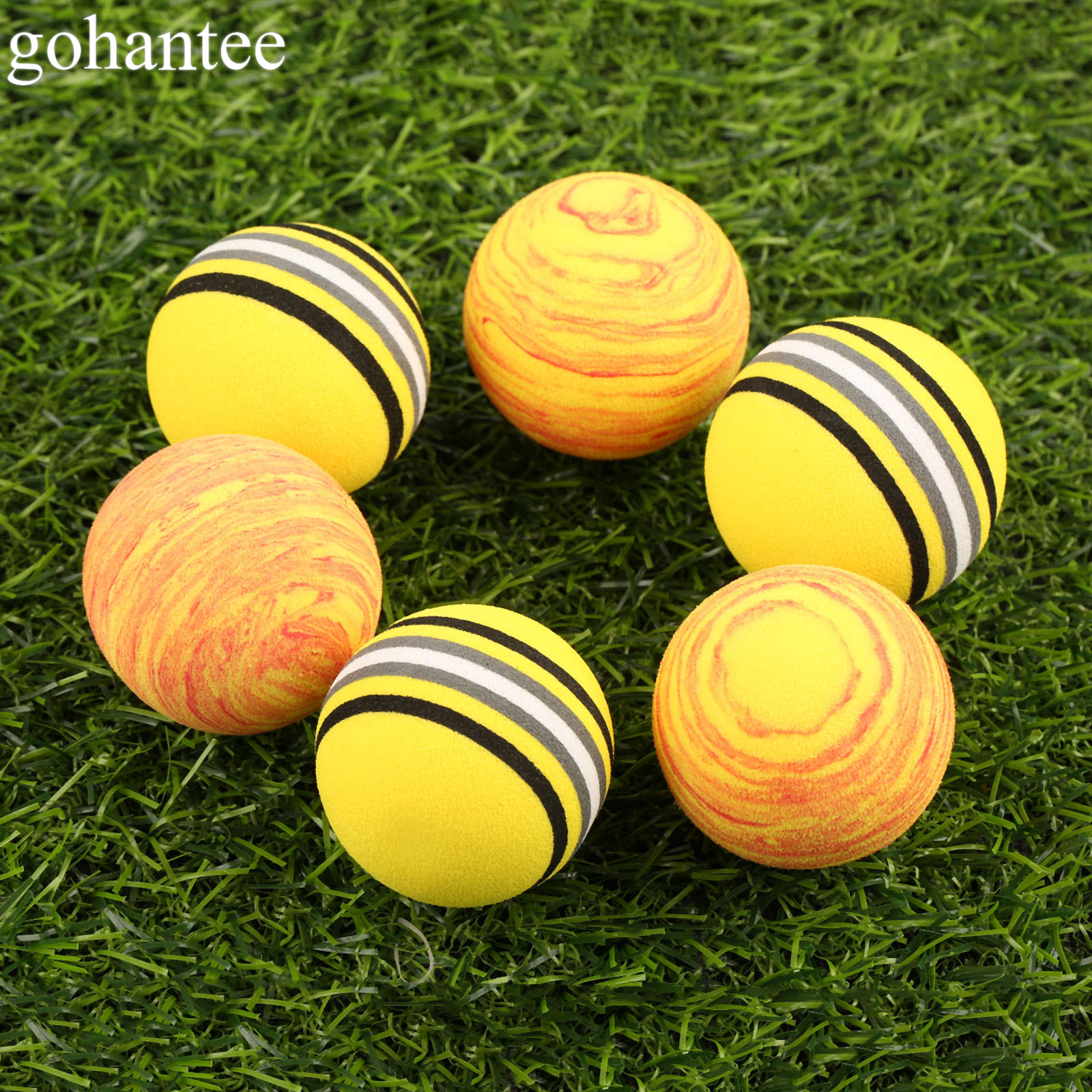 Gohantee 20 Pieces Rainbow Foam Golf Balls Indoor Golf Practice Balls Sponge Training Balls Golf Training Aids Diameter 41mm