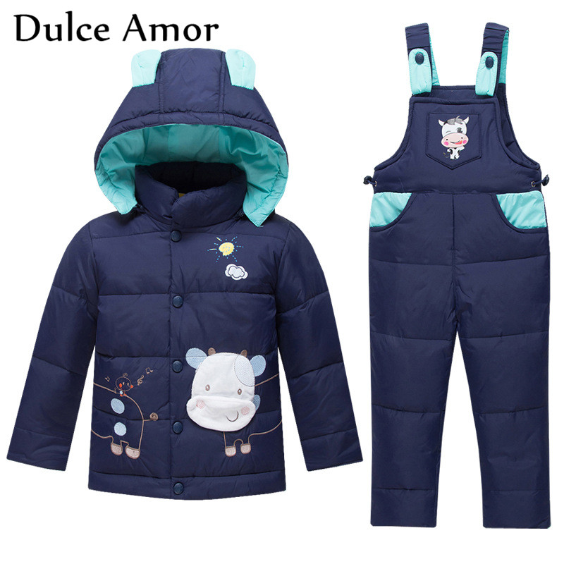Dulce Amor Winter Kids Clothes Set Duck Down Jacket Set Cow Pattern Snowsuit + Romper Baby Boy Warm Jacket Infant Girl Clothes cacharel туалетная вода женская amor amor l eau 50 мл os