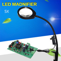 Multifunction folder desk magnifier lamp adjustable brightness LED, 5x Caliper magnifier use for reading jewelry identification
