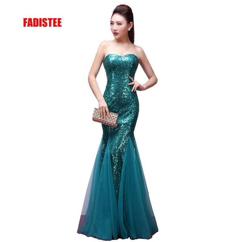 FADISTEE New arrival classic party   dress     evening     dress   Vestido de Festa luxury satin gown sexy strapless sequins mermaid style