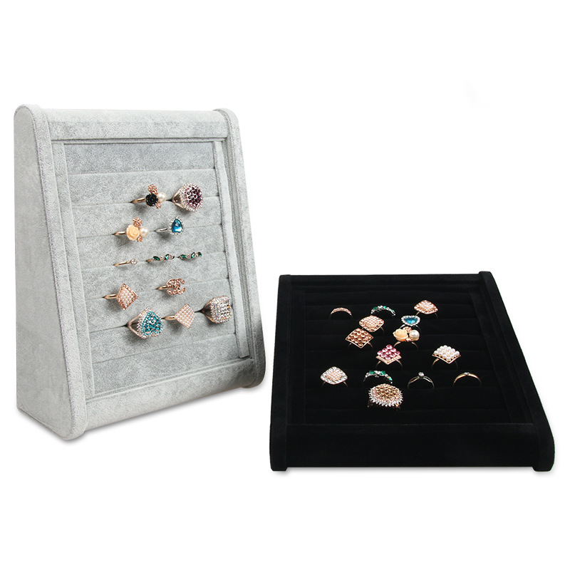 Velvet Earrings Ring Organizer Ear Studs Jewelry Display Stand Holder Rack Showcase Tray 3 Colors 23cm*18.5cm*8.5cm