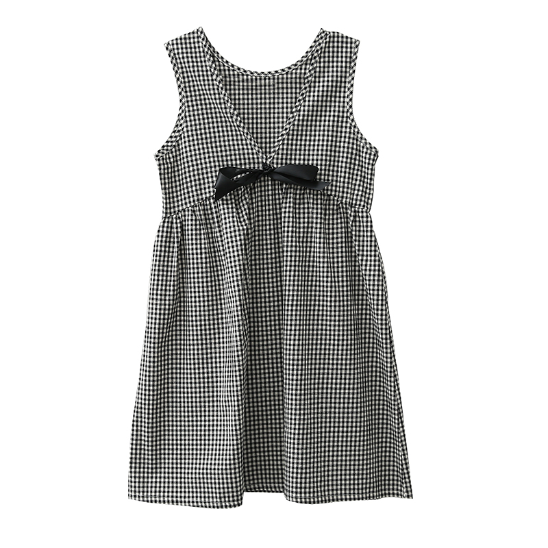 2018 New Black White Plaid Summer Maternity Dresses for Pregnant Women Sleeveless Bow Loose Dress Pregnancy Woman Cloth Vestido