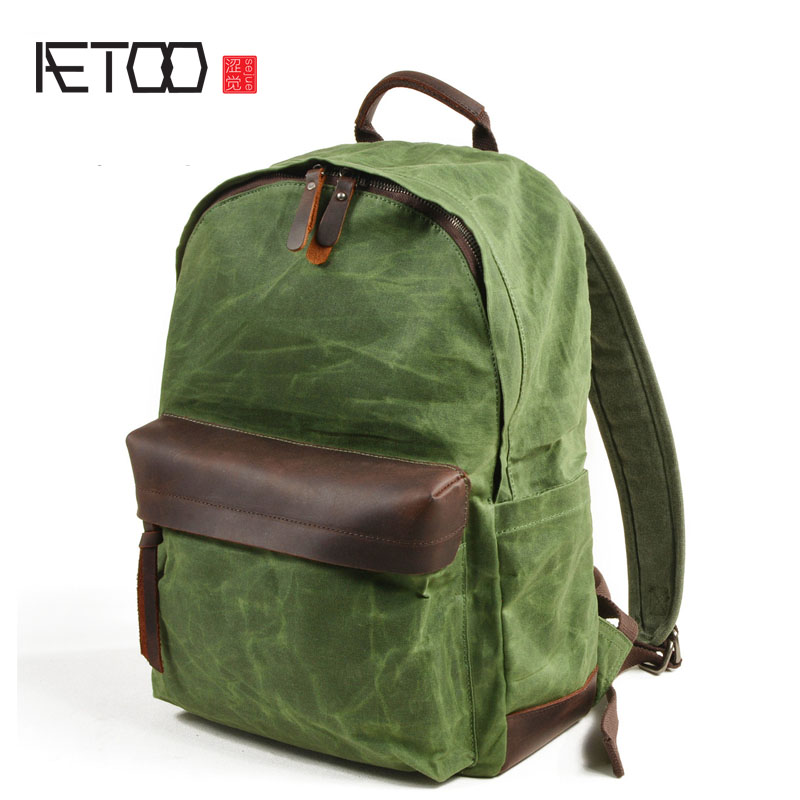 AETOO Cloth men's oil wax canvas bag leisure large capacity backpack bag men's travel backpack барнс джулиан лимонный стол page 2