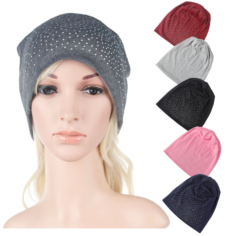 New 2017 Fall Knitted Skullies Beanies Candy Color Hot Drilling Hats for Women Cool Girls Gift Fashion Accessories skullies