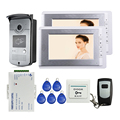 Brand New Wired 7 inch Video Door Phone Intercom Entry System 2 Monitors + RFID Camera + Remote Control In Stock FREE SHIPPING