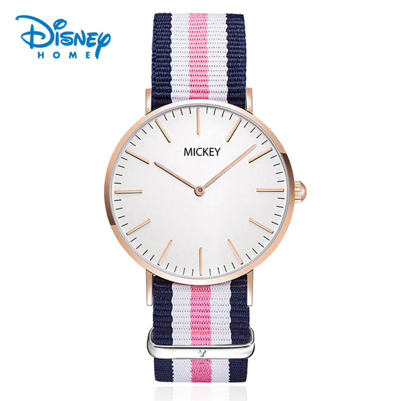 Disney Watches Women's Nato Nylon Watch 2 Hand Minimalist styled 6mm Ultra Thin Hand Clock Hour Fashion Casual Montre MK 11099