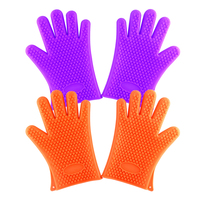 2Pc Top Home Barbecue Silicone Heat Holder Gloves Cotton Kitchen Oven Mitts Cook Resistant Glove Microwave Mitts Kitchen Tools