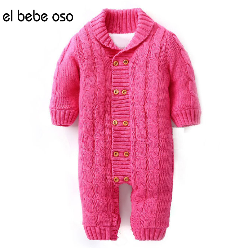 el bebe oso Newborn Baby Jumpsuit Solid Turn-down Collar Double-breasted Girl&Boy Winter Autumn Warm Thick Fleece Romper XL31 baby rompers baby winter coveralls infant boy girl fleece romper ropa nena invierno knitted stripe jumpsuit bebe newborn outwear
