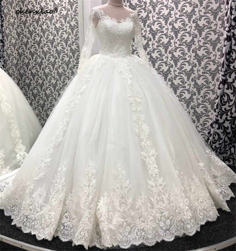 לבן חתונה שמלת 2019 כדור שמלת תכשיט צוואר שרוולים תחרת אפליקציות משפט רכבת חתונת שמלות כלה שמלות Vestido דה Noivas