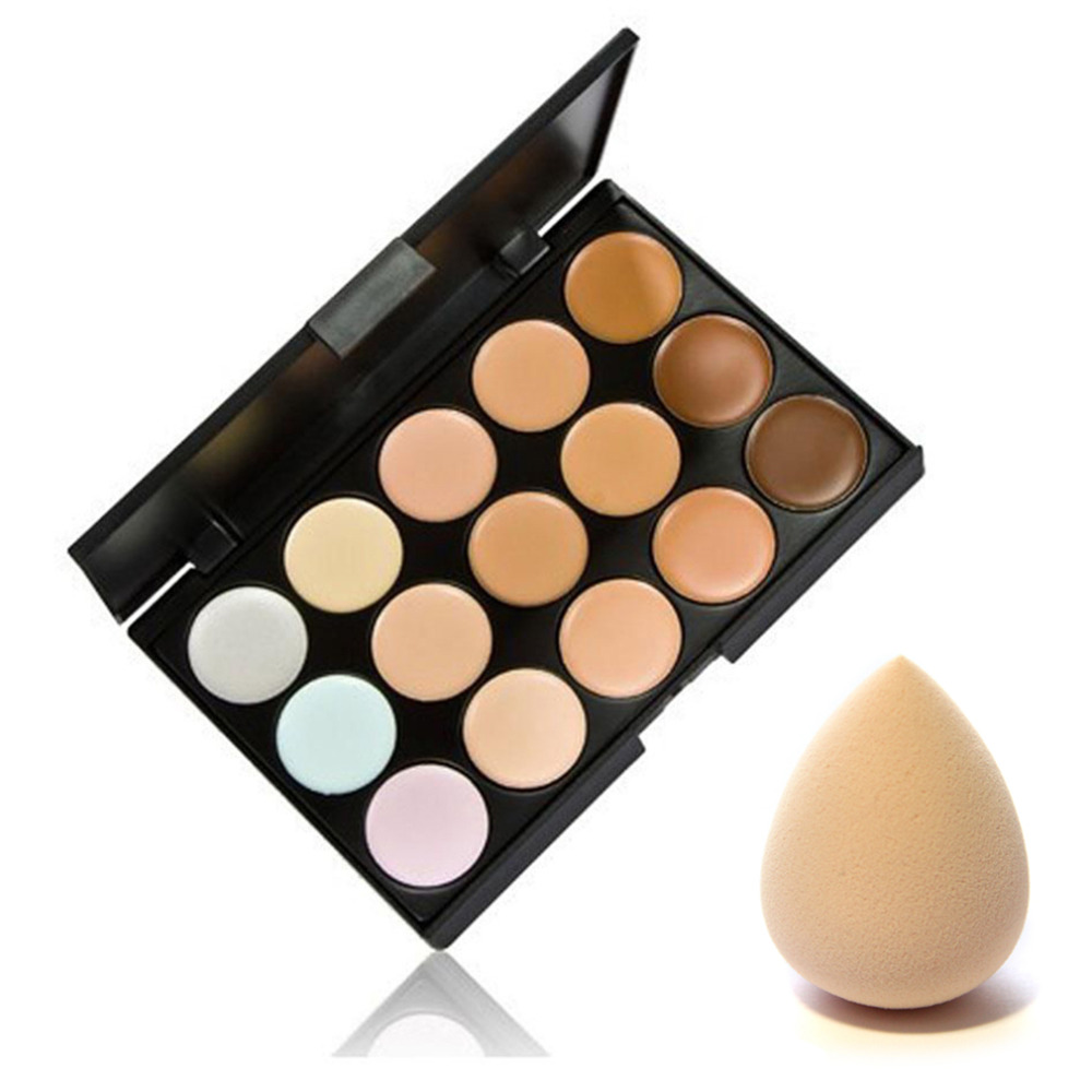 15 färger Contour Palette Face Cream Makeup Concealer Palett & Svamp Kosmetisk Puff Makeup Set Tool Hot Sälj Ny Kvalitet
