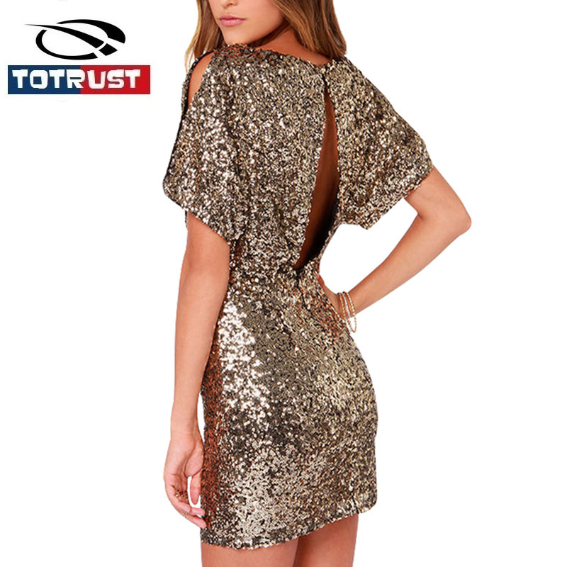 Women Party Dress Short 2018 New Spring Backless Sequin
