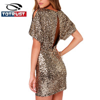Women Party Dress Short 2018 New Spring Backless Sequin Dress Step Bodycon For Women Abiti Vestidos Gold Sexy Mini Glitter Dress