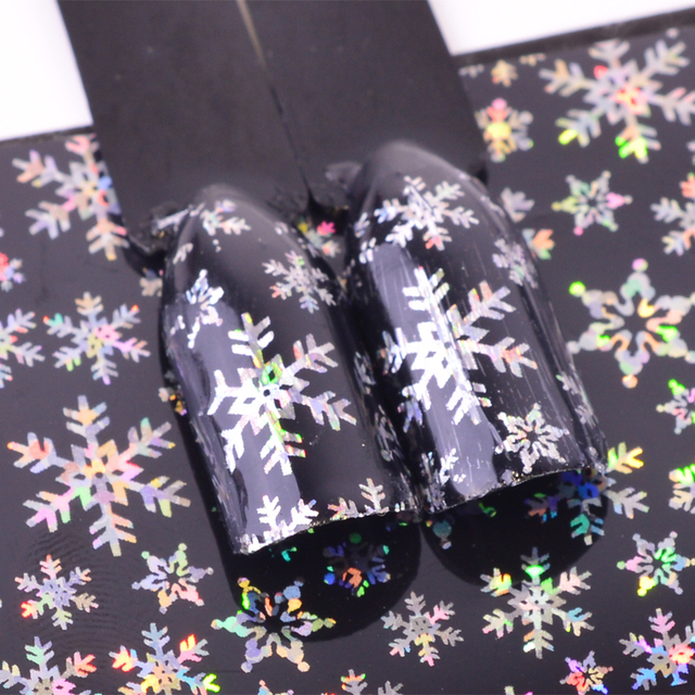Christmas Snowflake Holographic Nail Foils Christmas Winter Nail Art Transfer Foil Sticker Paper Craft Decoration TRXK94-95