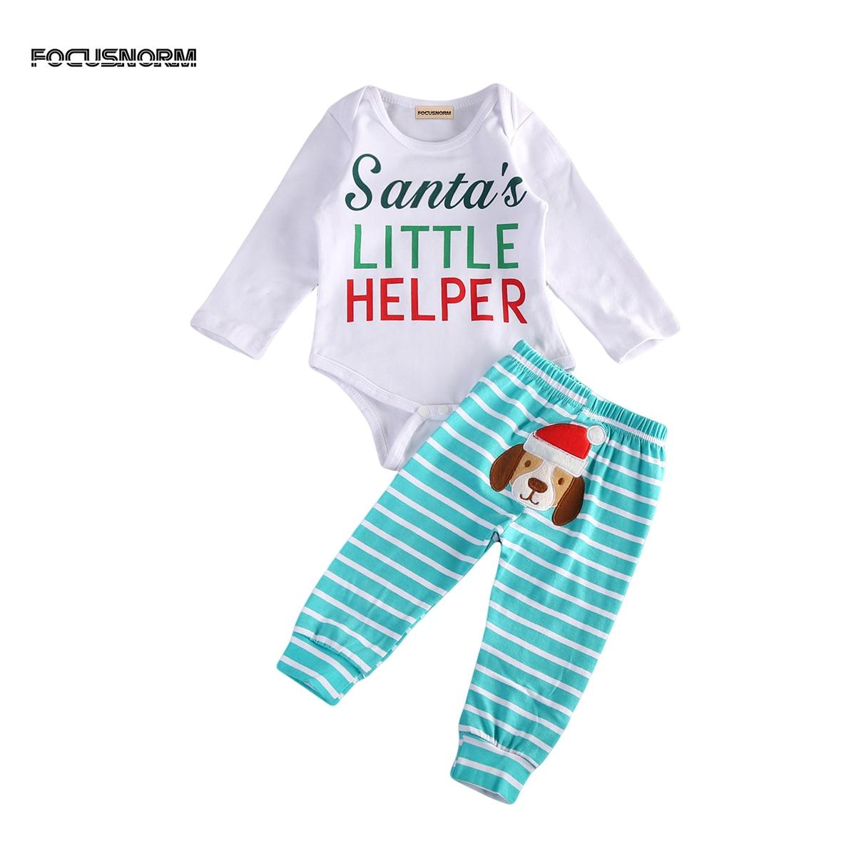 Рождество Одежда для маленьких мальчиков и девочек новорожденных письмо Санта комбинезон одежда + милая собака в полоску длинные брюки leggngs...