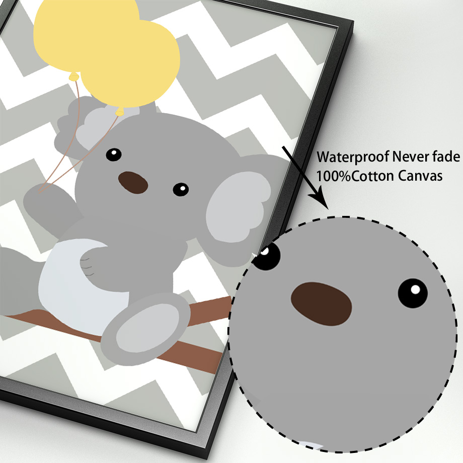 Koala Hippo Elephant Balloon Nursery Nordic Posters And Prints Wall Art Canvas Painting Pop Art Wall Pictures Kids Room Decor in Painting Calligraphy from Home Garden