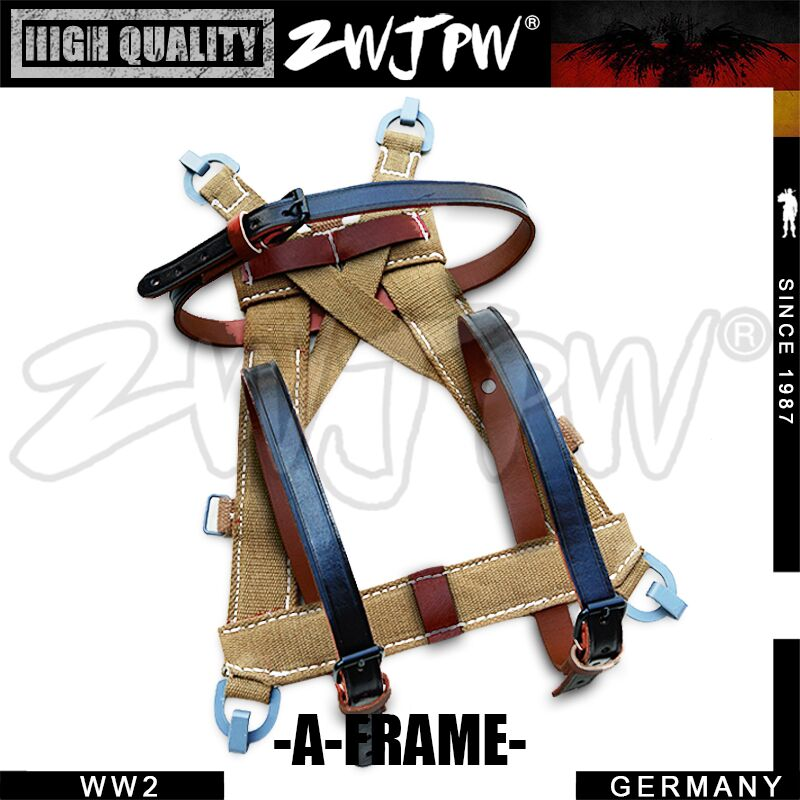 WW2 WWII Repro Army Webbing Frame Soldier A Frame with Leather Straps Carrier Canvas DE 451545