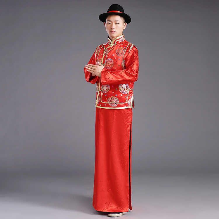 5e776addd8c8a ... ZZB015 Chinese Couple Style Wedding Groom Tunic Red Dress Long Robe Gown  Traditional Chinese Wedding Dress ...