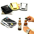 Stainless Steel 3 Color Slim Sleek Money Cash Clip Clamp Double Sided Credit Card Holder Bottle Opener CL03