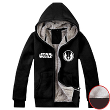 Mens 2015 Movie Star Wars 7 The Force Awakens Hoodie Jedi Order Logo Super Warm Fleece Winter Zip up Sweatshirt