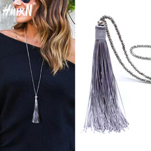 2018 New vintage Boho Long Fringe Tassel Necklaces pendant for Women Collier Femme Glass Beaded Crystal Bohemian Jewelry collar