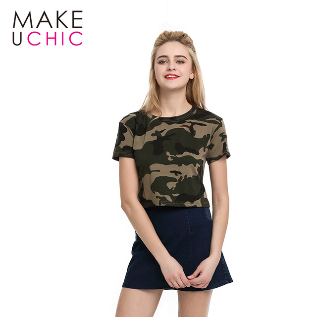 US $10 0 |MAKEUCHIC Apparel Women T shirt Casual Camouflage Crew Neck  Female Crop Tops Streetwear Shaping Hollow Out Slim Short Tee-in T-Shirts  from