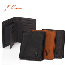J.Quinn 2 Photo Short Cowhide Wallets for Men Vertical Black Bifold Genuine Leather Card Zipper Business Men Portfolios 2016 New