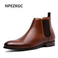 NPEZKGC/весенне осенние мужские ботинки «Челси», кожаная повседневная обувь, Мужская обувь в британском стиле без шнуровки, свадебная обувь, ко
