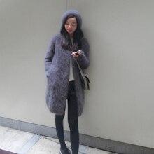 2020 Hàng Mới Về Vintage Hoodie Nữ Mềm Mại Tự Nhiên Chồn Cashmere Cổ Tim Thật Chồn Cashmere Áo Len Wsr336