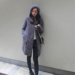 Image 1 - Suéter vintage com capuz feminino, cardigans de caxemira macia e natural com capuz, vison real, wsr336, 2020