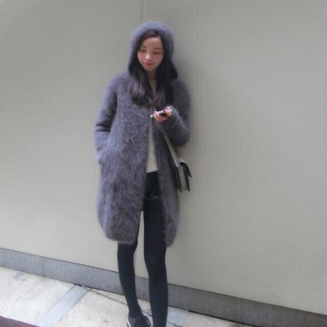 Suéter vintage com capuz feminino, cardigans de caxemira macia e natural com capuz, vison real, wsr336, 2020
