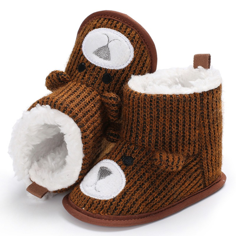 Winter Super Keep Warm Infant Toddler Shoes Boots Booty Newborn Baby Crib Snow Knitting Cartoon Bear Shoes
