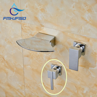 Dois Tipos de Lidar Com Acabamento Cromado Fixado Na Parede Único Lidar Com Misturador Banheiro Torneiras de Água de Alta Qualidade Melhor Preço