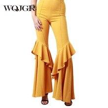WQJGR Wide Leg Pants Plus Size Women Clothing Full Length High Waist Streetwear Pleated Flared Trousers