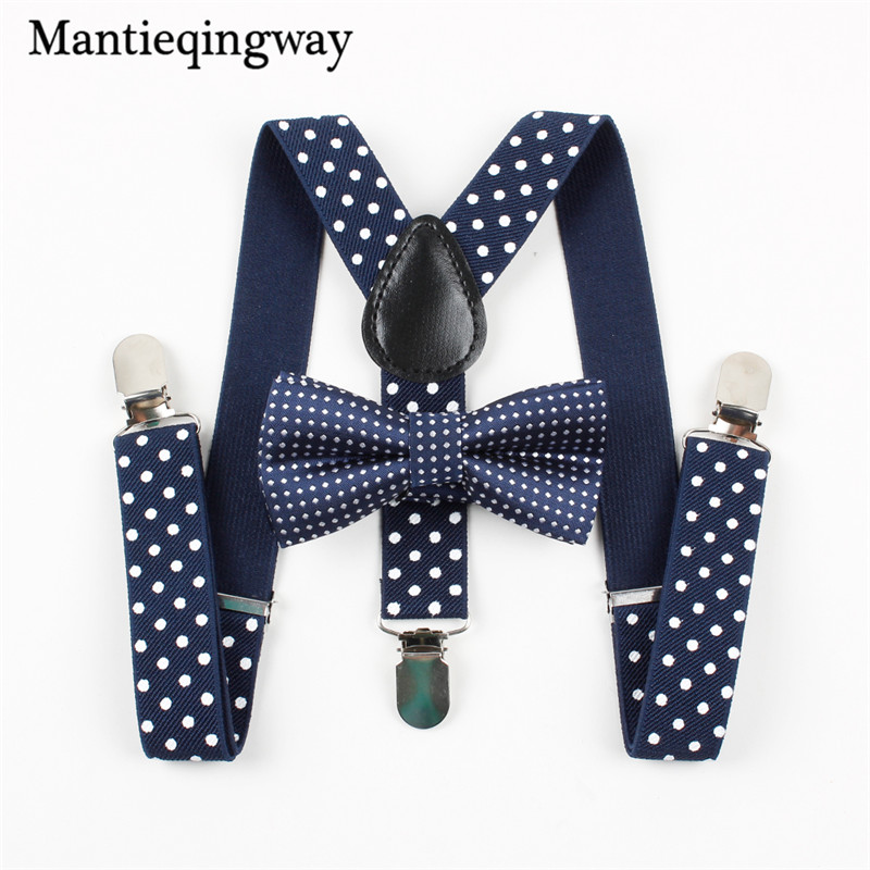 Lovely Kids Print Dots Bow Suspenders Belt Set Y-back Braces Wedding Ties Gift