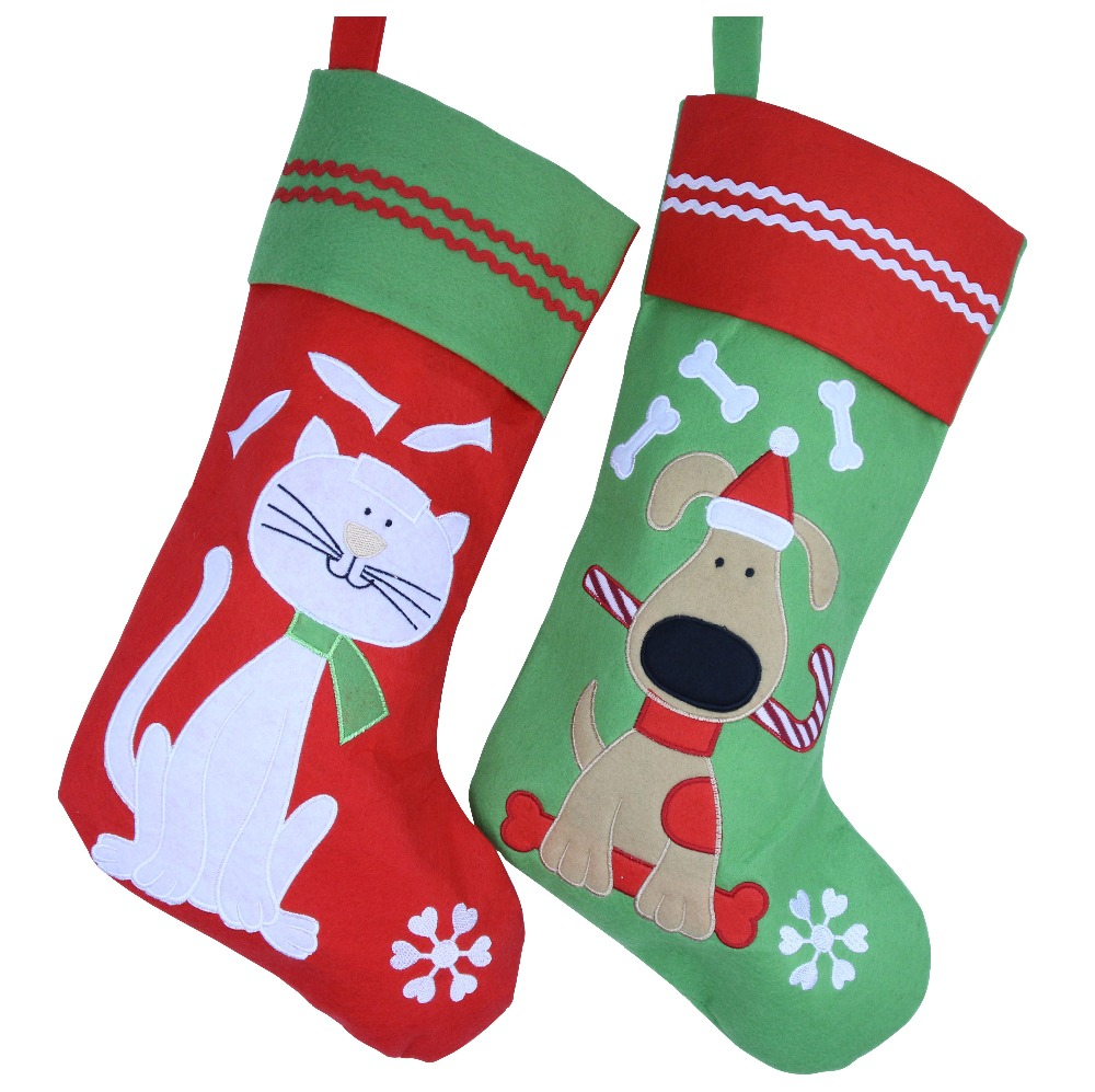 Dog christmas ornaments - 40cm Lovely Embroidered Cat And Dog Pattern Chirstmas Stocking Socks Christmas Tree Decor Festival Party Ornament