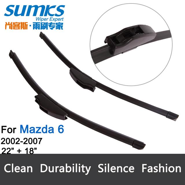 "Wiper blades for Mazda 6 (2002-2007) 22""+18"" fit standard J hook wiper arms only HY-002"