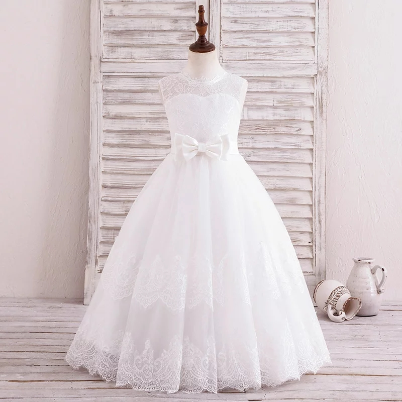 Tulle Lace A Line Bow Flower Girl Dresses for Wedding First Communion Dresses Wedding Party Mother Daughter Dresses For Girls 2018 purple v neck bow pearls flower lace baby girls dresses for wedding beading sash first communion dress girl prom party gown