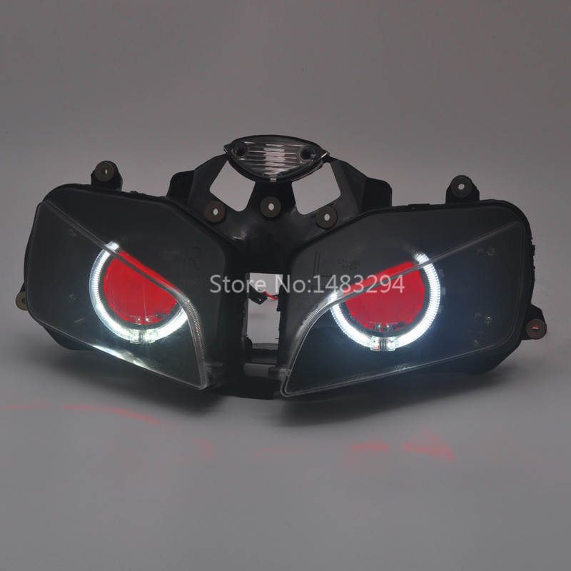 Custom Modified White Angel&Red Demon Eyes HID Projector Conversion Headlight Assembled For Honda CBR600RR F5 03 06 04 05|  - title=