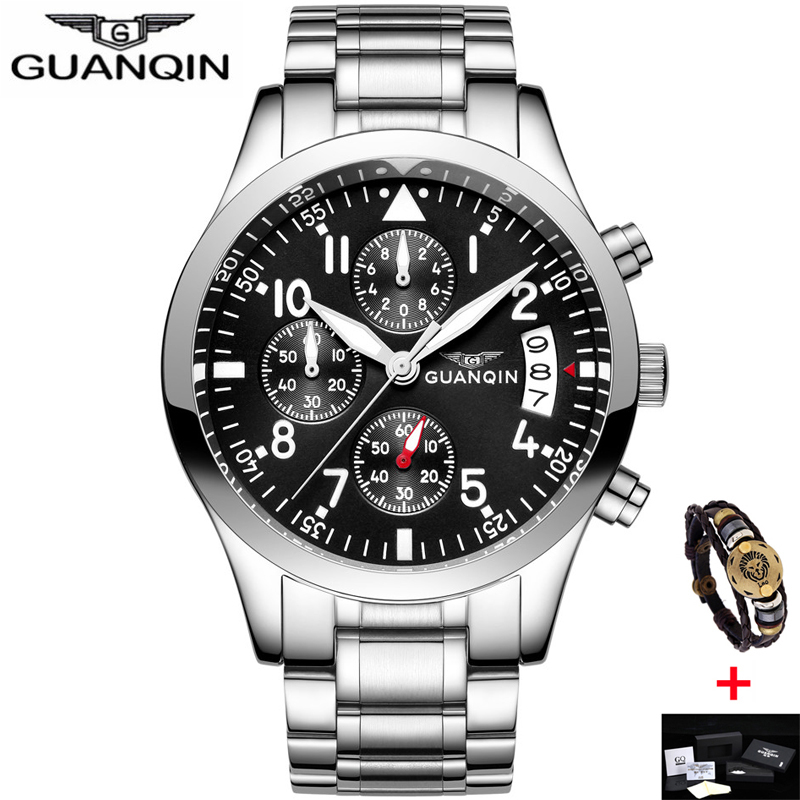 relogio masculino GUANQIN Mens Watches Top Brand Luxury Sport Quartz Watch Men Business Stainless Steel Waterproof Wristwatch weide popular brand new fashion digital led watch men waterproof sport watches man white dial stainless steel relogio masculino