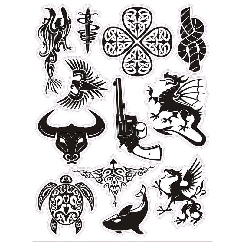 Горячая 12 шт./лот творческий прохладный черный скота Дракон огнестрельного оружия DIY Наклейки для магистральных стол компьютерный Водонепр... ...