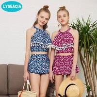 LYSEACIA High Neck Bikini Swimsuit Printing Two Piece Swimwear High Waist Bikinis Set Push Up Bathing
