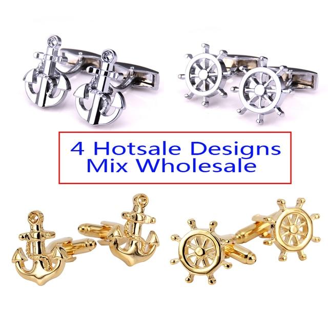 a08c2e40f254 Luxury shirt cufflink Silver boat anchor&rudder Pattern Golden Silver 4  style mix Vintage Wedding Mens Cufflinks